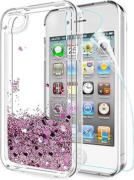 LeYi Coque iPhone 4S, Etui iPhone 4 avec Film de Protection écran, Fille Personnalisé Liquide Paillette Flottant Transparente 3D Silicone Gel Antichoc ...