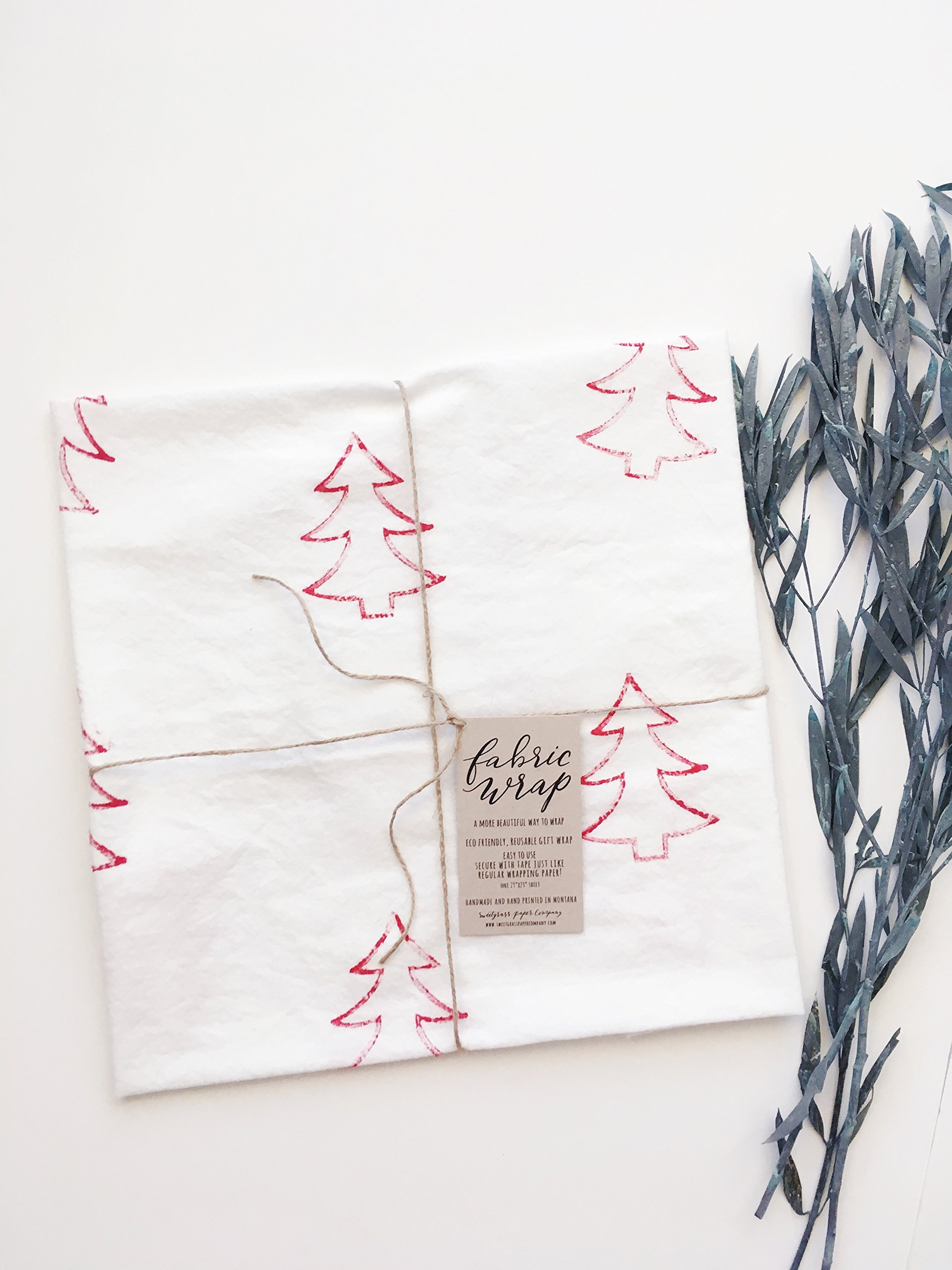 GIFT WRAP, Fabric Wrap™, Red Christmas trees, eco friendly reusable, holiday, present, natural, rustic, farmhouse, cottage Active by Sweetgrass Paper Company