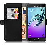Samsung Galaxy A3 (6) 2016 Lederhülle | JAMMYLIZARD Handyhülle [ Luxuriöse Series ] Ledertasche Flip Case Cover Hülle Leder Schutzhülle mit Kartenfach, Schwarz