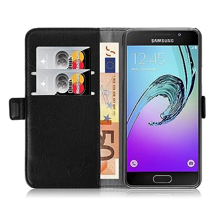 JAMMYLIZARD Lederhülle für Samsung Galaxy A3 (6) 2016   Handyhülle Book Case Tasche [ Luxuriöse Series ] Ledertasche Flip Cov
