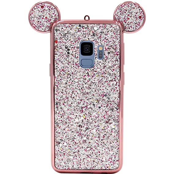 competitive price 8ce39 94f6c Galaxy S9 Case, MC Fashion Cute Bling Bling Sparkle Glitter 3D Mickey Mouse  Ears Flexible and Protective TPU Case for Samsung Galaxy S9 (2018 Release)  ...