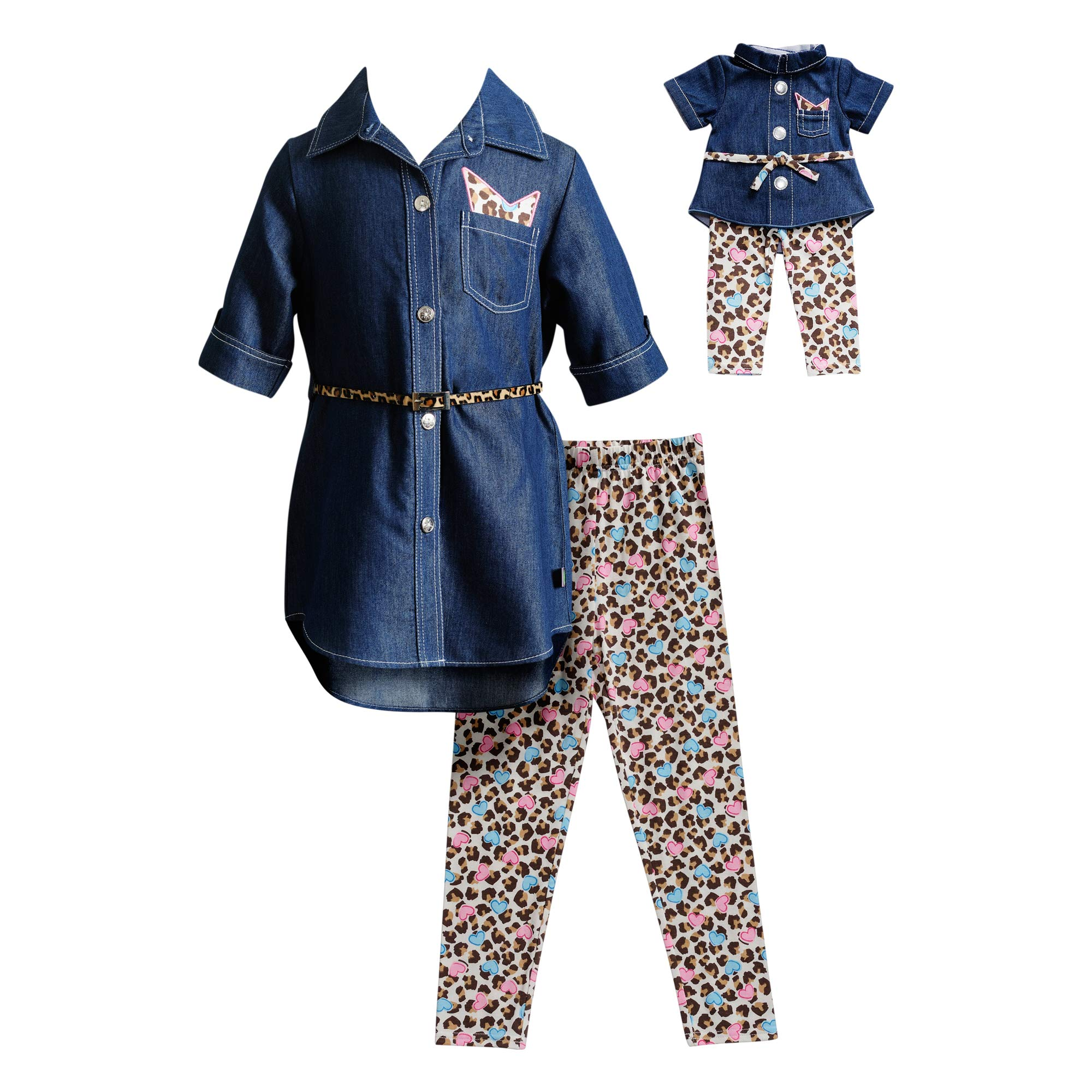 Dollie & Me Girls' Big Denim Top with Legging, Belt and Matching Doll Outfit, Navy/Multi, 7 by Dollie & Me