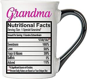 Cottage Creek Coffee Mug, Large Food Label Grandma Coffee Mug, 18 oz Ceramic GrandmaCoffee Cup, Grandma Mug [White]