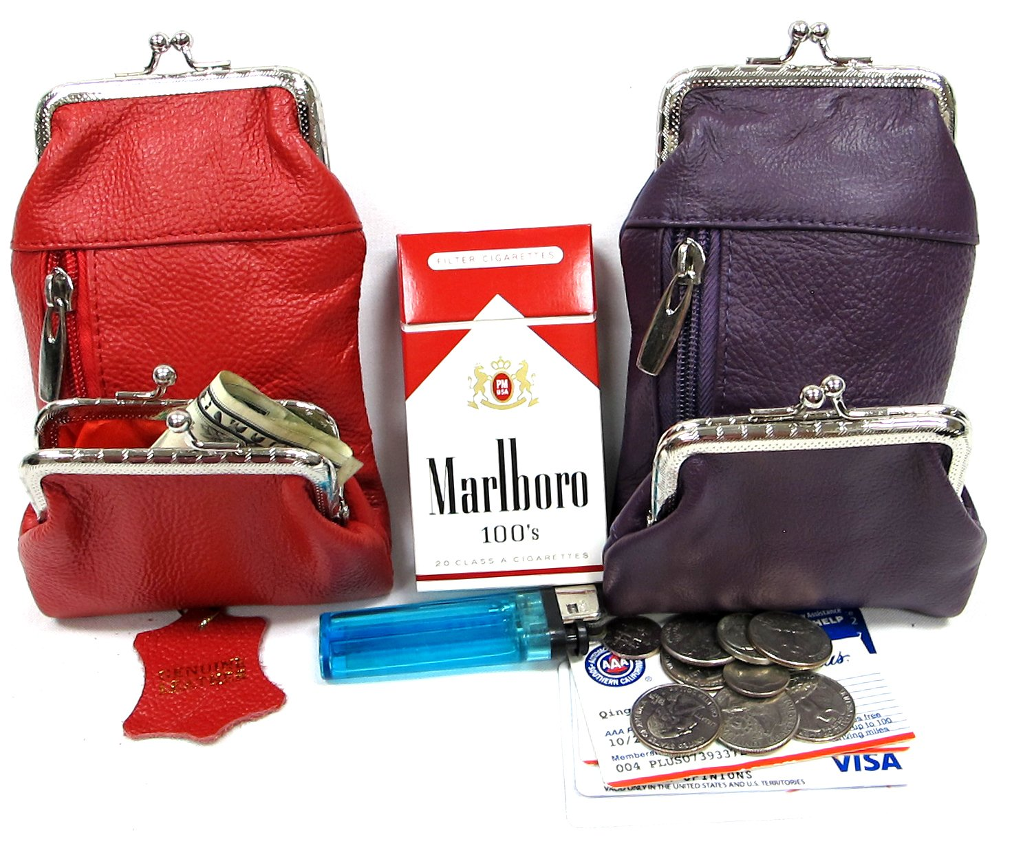Two Color Pair Women's Genuine Leather Cigarette Case+ Coin Match Lighter Holder Pocket - 1PURPLE +1RED