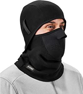 Balaclava, Neoprene Winter Face Mask, Detachable Top and Bottom, Straps To Attach To Hard Hat, Ergodyne N-Ferno 6827,Black