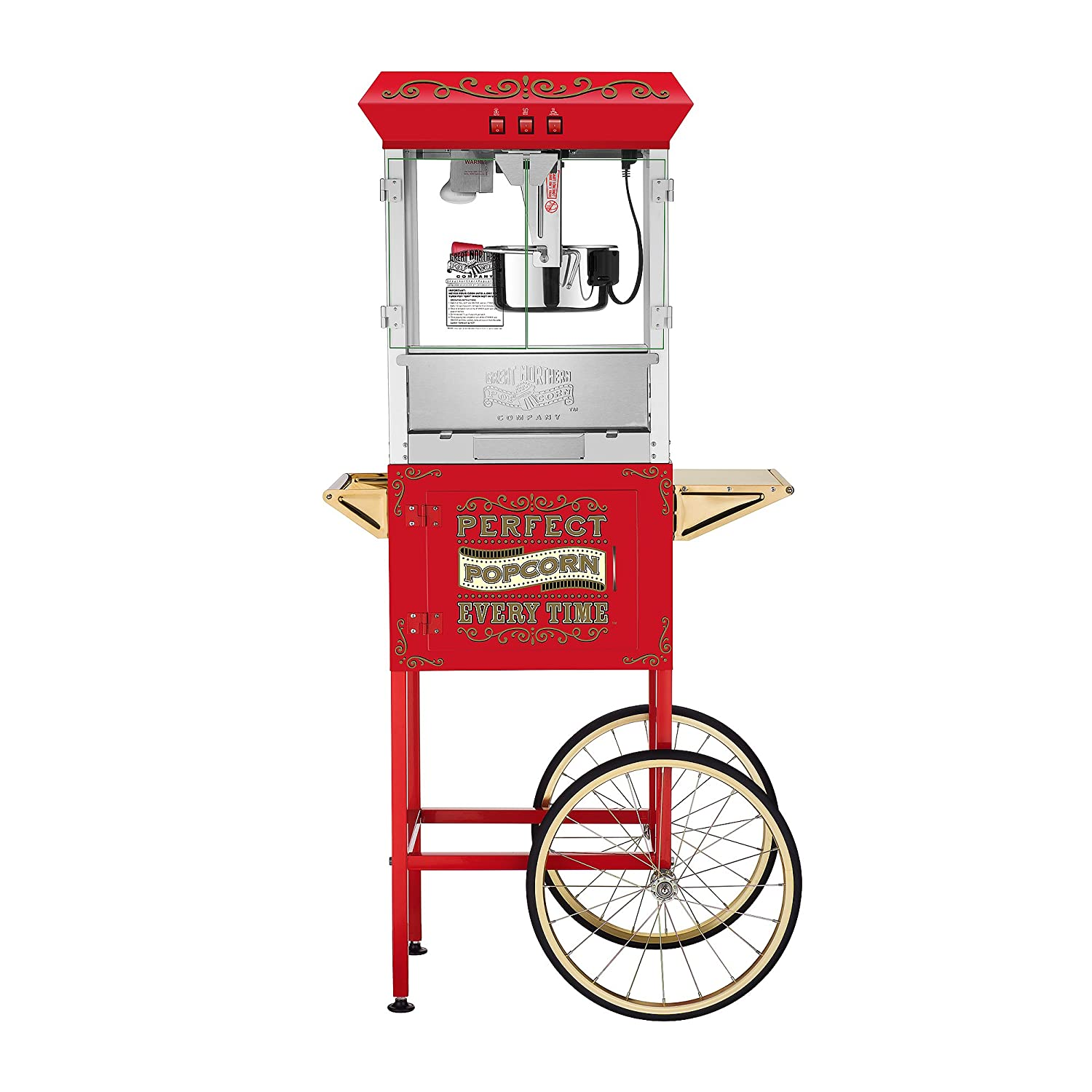 Great Northern Popcorn 5995 10 oz. Perfect Popper Popcorn Machine with Cart - Red