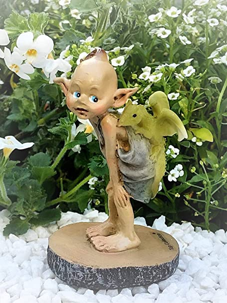 Miniature FAIRY GARDEN Figurine ~ Mini Pixie with Baby Dragon on Branch ~ NEW