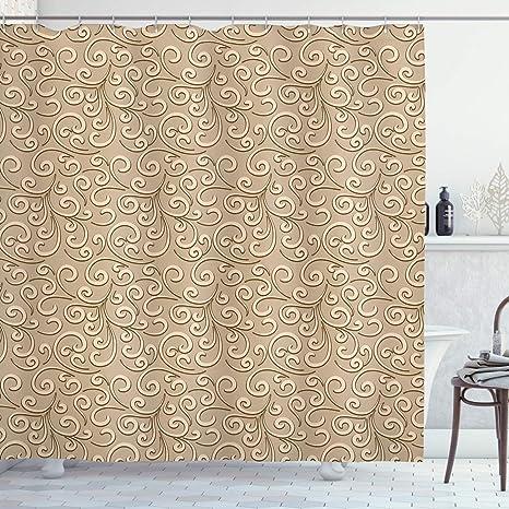 Beige Shower Curtain Damask Floral Victorian Print for Bathroom