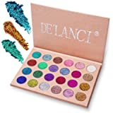 Glitter Powder Makeup Palette, DE'LANCI Professional - Long Lasting&Shimmer Eyeshadow Palette - Eyes Makeup Glitter Highly Pigmented Mineral Pressed Glitter(24 Color)