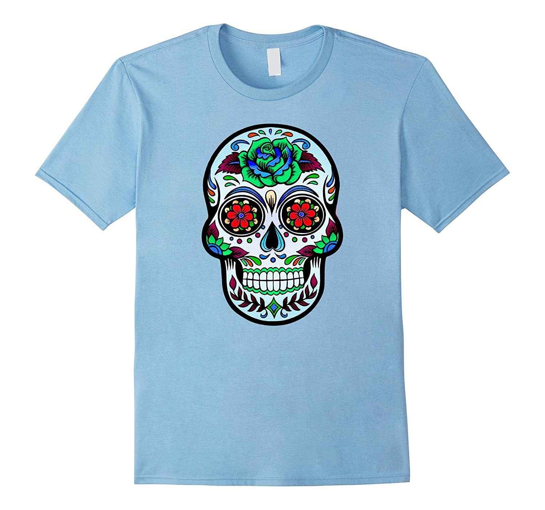 Flower Sugar Skull Halloween Shirt Day of the Dead T-Shirt-Veotee