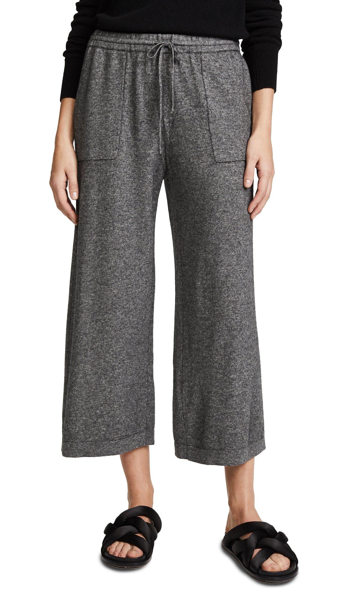 Vince Women's Wide Leg Crop Pants, Heather Stone, Small