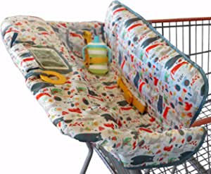 Shopping Trolley Cover for Baby or Toddler - 2-in-1 Highchair Cover - Compact Universal Fit - Modern Unisex Design for Boy or Girl - Includes Carry Bag - Machine Washable - Fits Restaurant High Chair (Forest Animals)