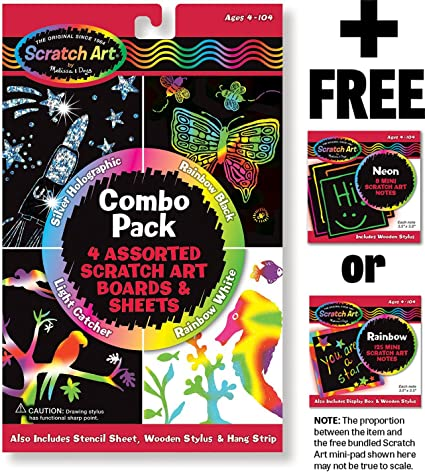 Melissa /& Doug Scratch Art Magic Combo Pack with 4 Scratch Art Boards Stencil Sheet Wooden Stylus