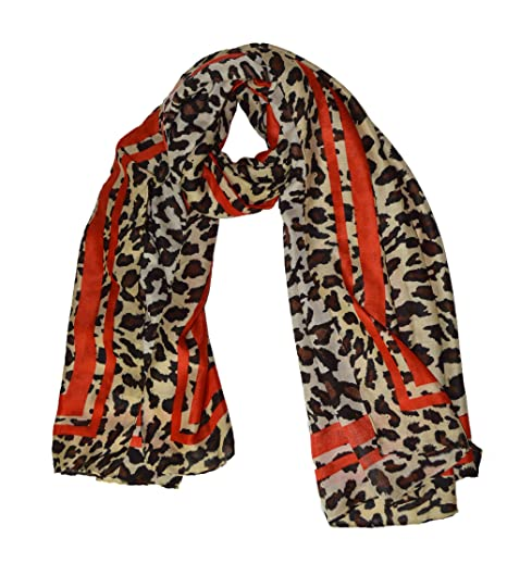 KGM Accessories Luxe Grande Taille Super Doux Imprimé léopard Rouge à  Rayures Écharpe Châle – Plus 2ab646dab64