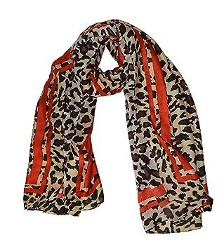 60bb31dc9dc KGM Accessories Luxe Grande Taille Super Doux Imprimé léopard Rouge à  Rayures Écharpe Châle – Plus