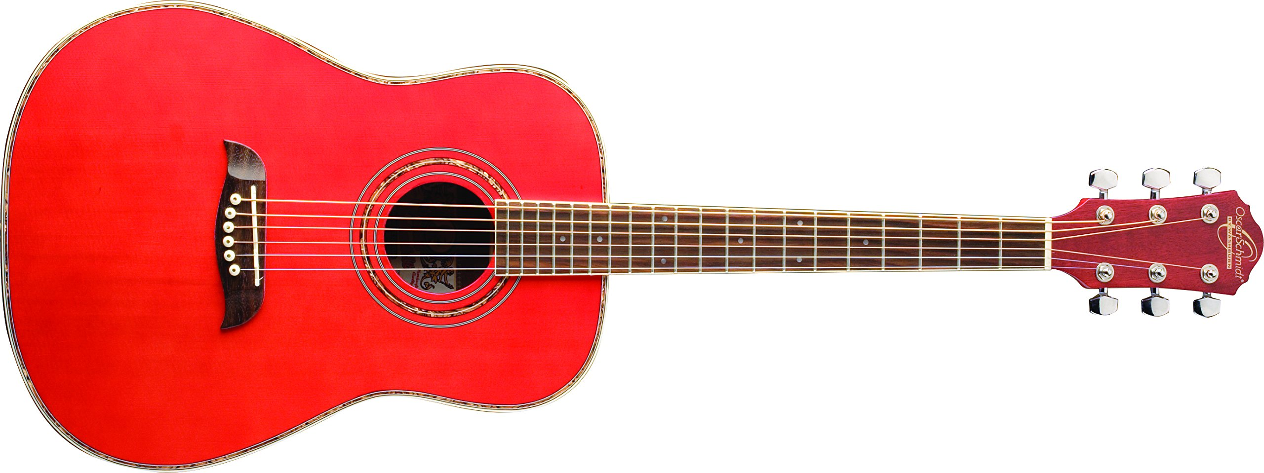 Oscar Schmidt OG1TR-A-U 3/4 Size Acoustic Guitar (High Gloss Red)