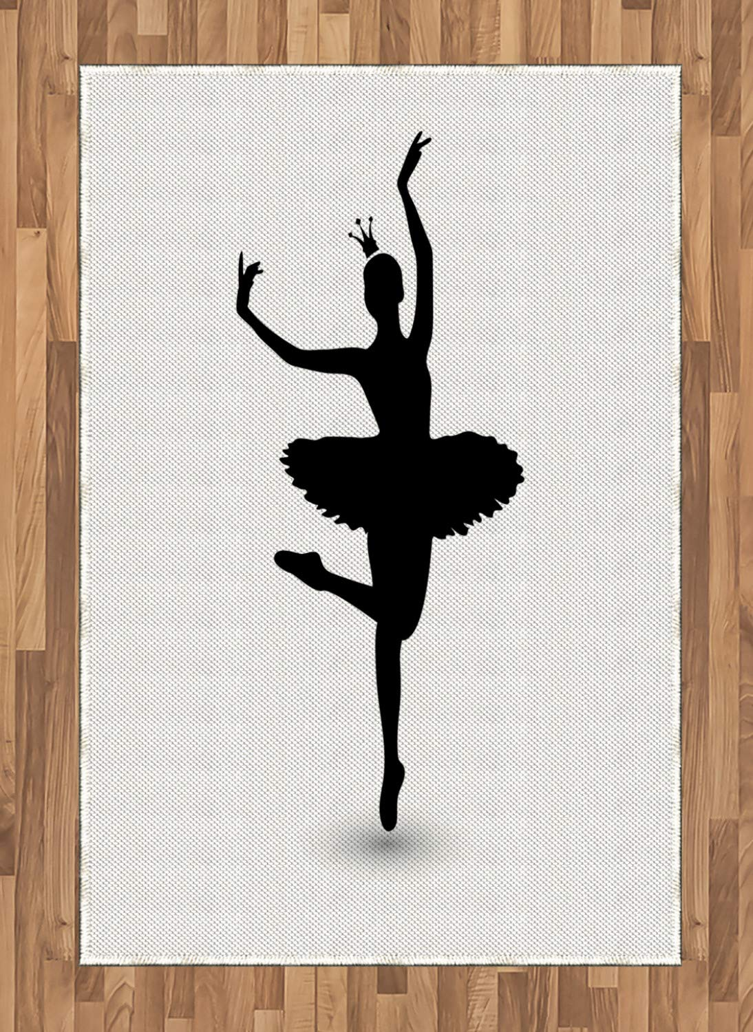 f0fee90b982df Lunarable Dance Area Rug, Black Silhouette Illustration of Dancing Ballerina  Icon with a Tiara Kids Girls, Flat Woven Accent Rug for Living Room Bedroom  ...