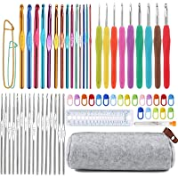 72 Pcs Crochet Hooks Set, Crochet Hooks Kit Plus Large Eye Blunt Needles Ergonomic Yarn Knitting Needles Marking Clips…
