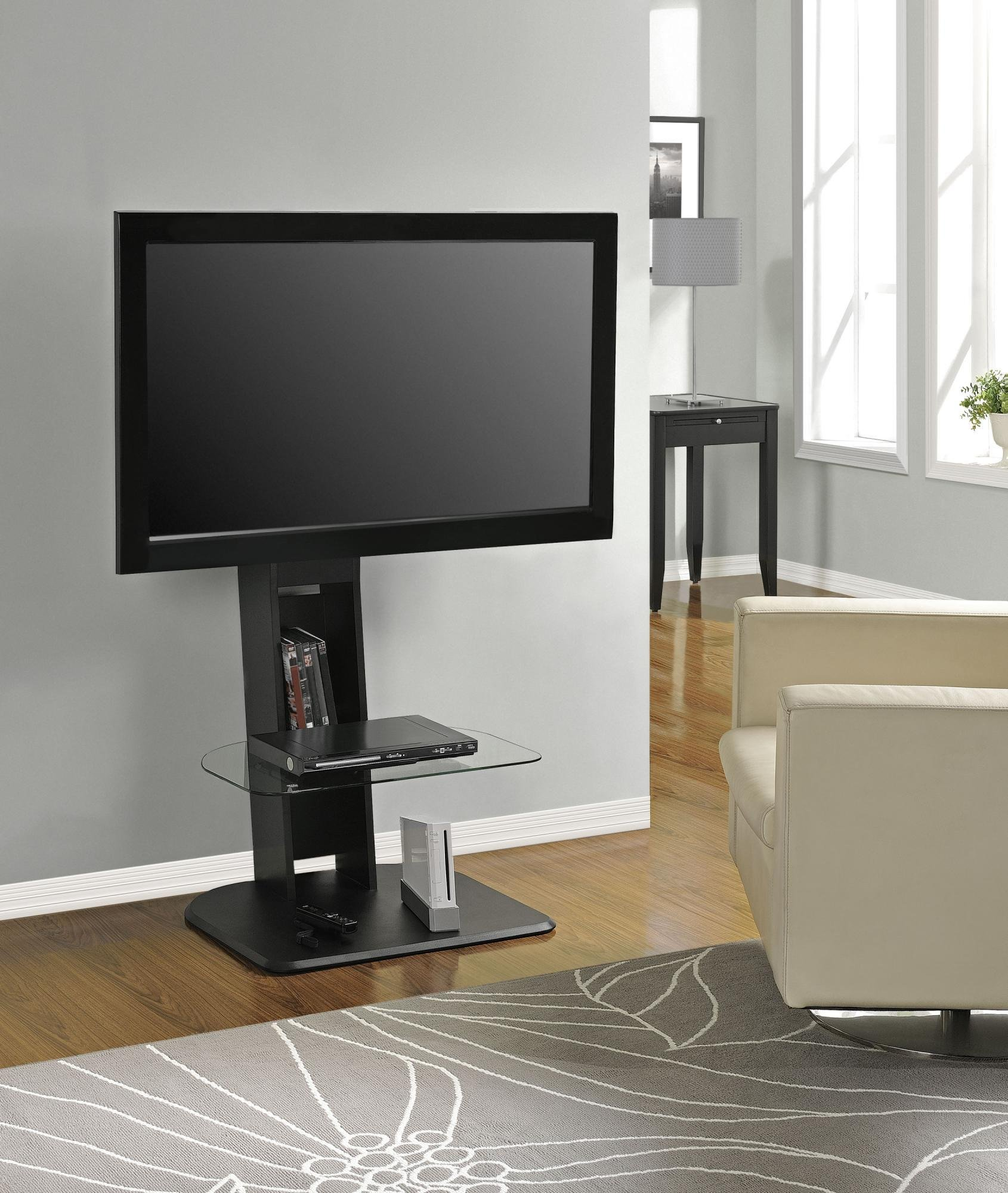 Ameriwood Home Galaxy TV Stand with Mount for TVs up to 50'', Black