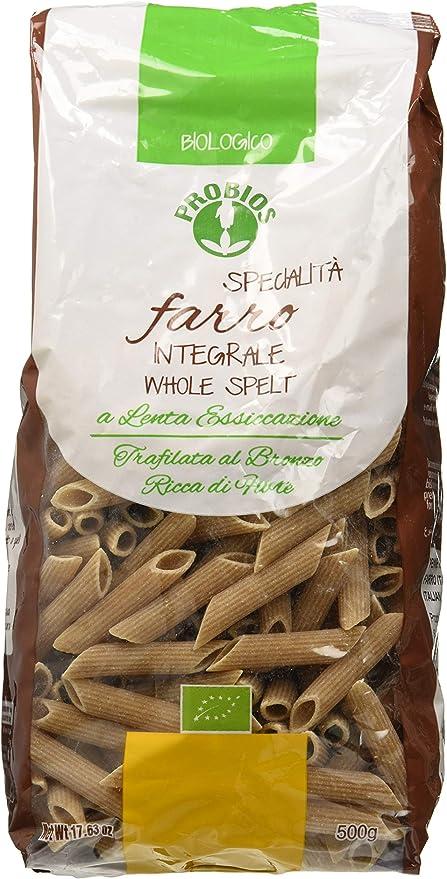 Probios Pasta Integral de Espelta Penne Rigate - Paquete de 12 x 500 gr - Total: 6000 gr: Amazon.es: Alimentación y bebidas