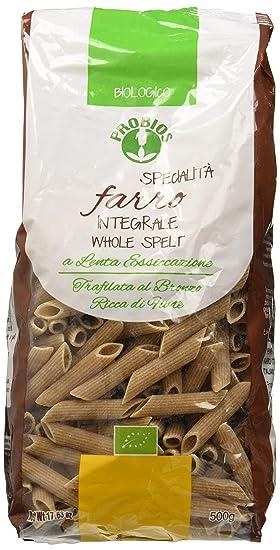 Probios Pasta Integral de Espelta Penne Rigate - Paquete de 12 x 500 gr - Total