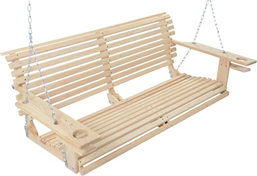 4 Foot Handmade Cypress Porch Swing with Cupholders Proudly Handmade in the USA