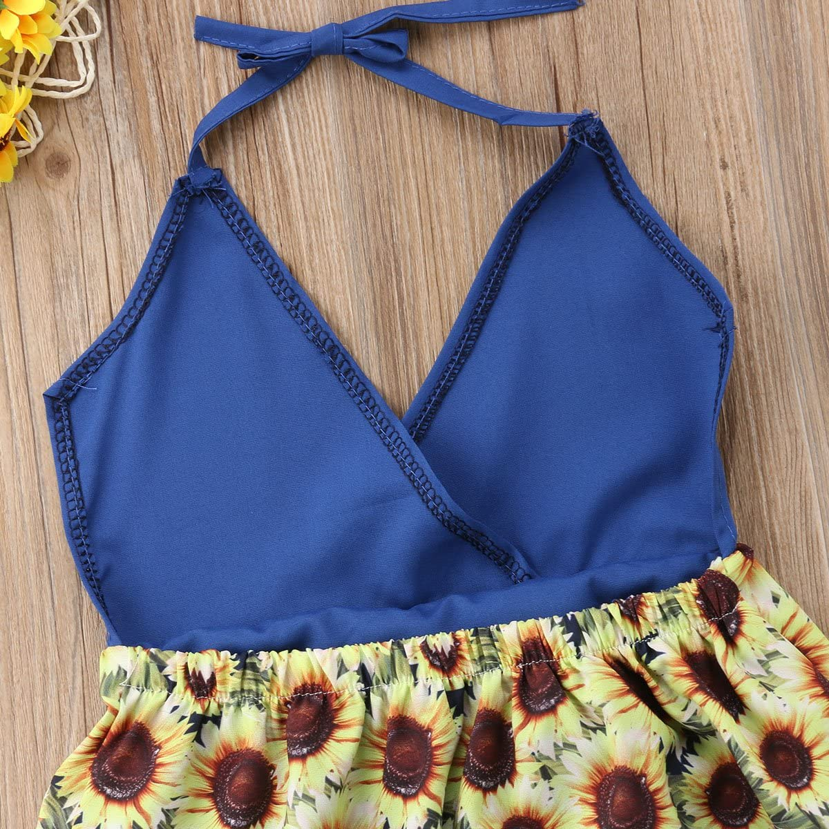 YAZAD Newborn Infant Toddler Baby Girl Sunflower Dress Halter Floral Tassel Sundress Princess Dress Playwear Summer Outfit
