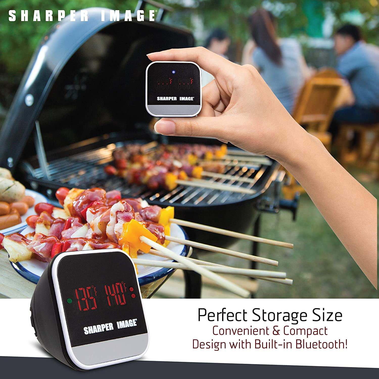 Meat Probes Plus Pairing Indicator Ensure Doneness Heat Resistant iOS//Android Capability W//App Great for BBQs//Oven Sharper Image Bluetooth Smartphone Grill Thermometer Easy Read Digital Display