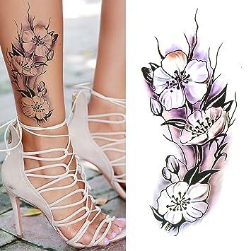 Oottati Arm Brust Temporäre Tattoo Blume Frauen Lila Set Mit 2