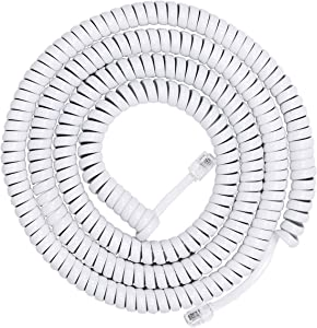 Power Gear Coiled Telephone Cord, 25 Foot Phone Cord, Works with All Corded Landline Phones, For Use in Home or Office, White, 76122