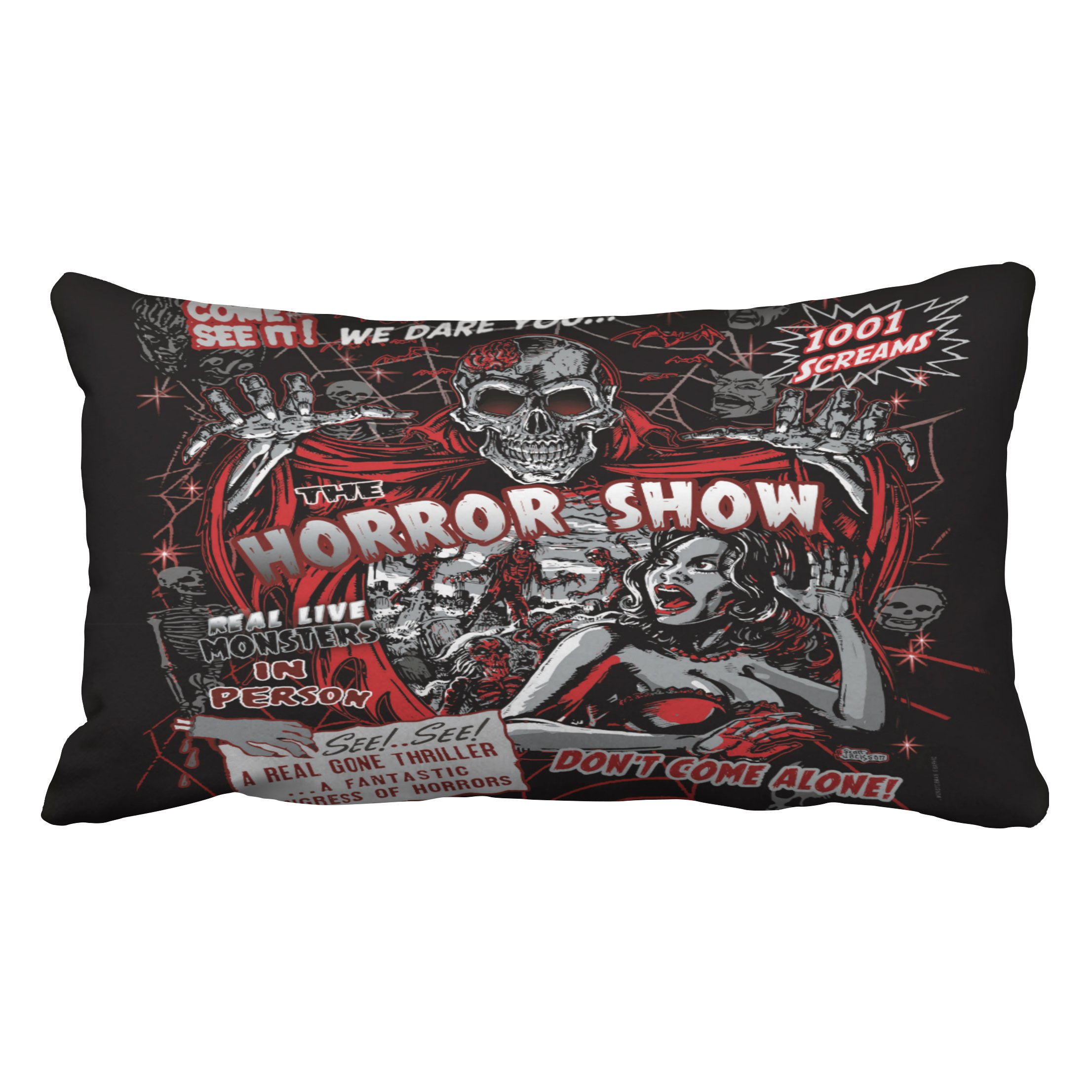 Emvency Decorative Throw Pillow Cover King Size 20x36 Inches Horror Movie Monster Spookhow Pillowcase With Hidden Zipper Decor Fashion Cushion Gift For Home Sofa Bedroom Couch Car