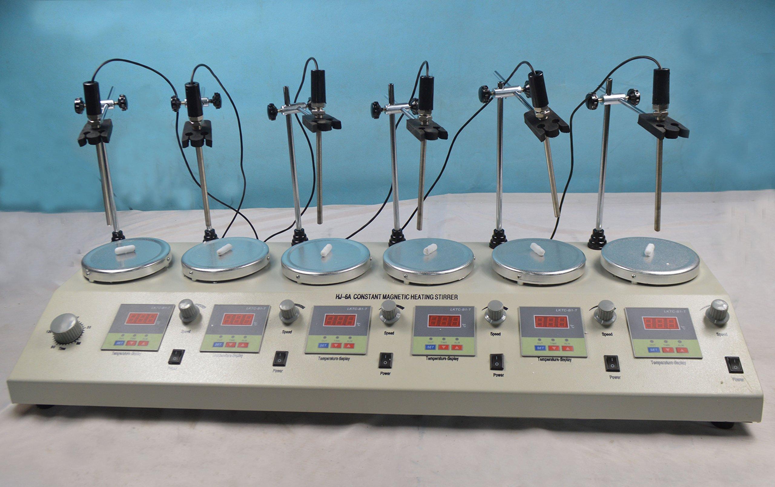 110 V 6 Heads Magnetism Stirrer Heating Mixer Hot Plate Magnetic Stirrer Machine (Item # 210070)