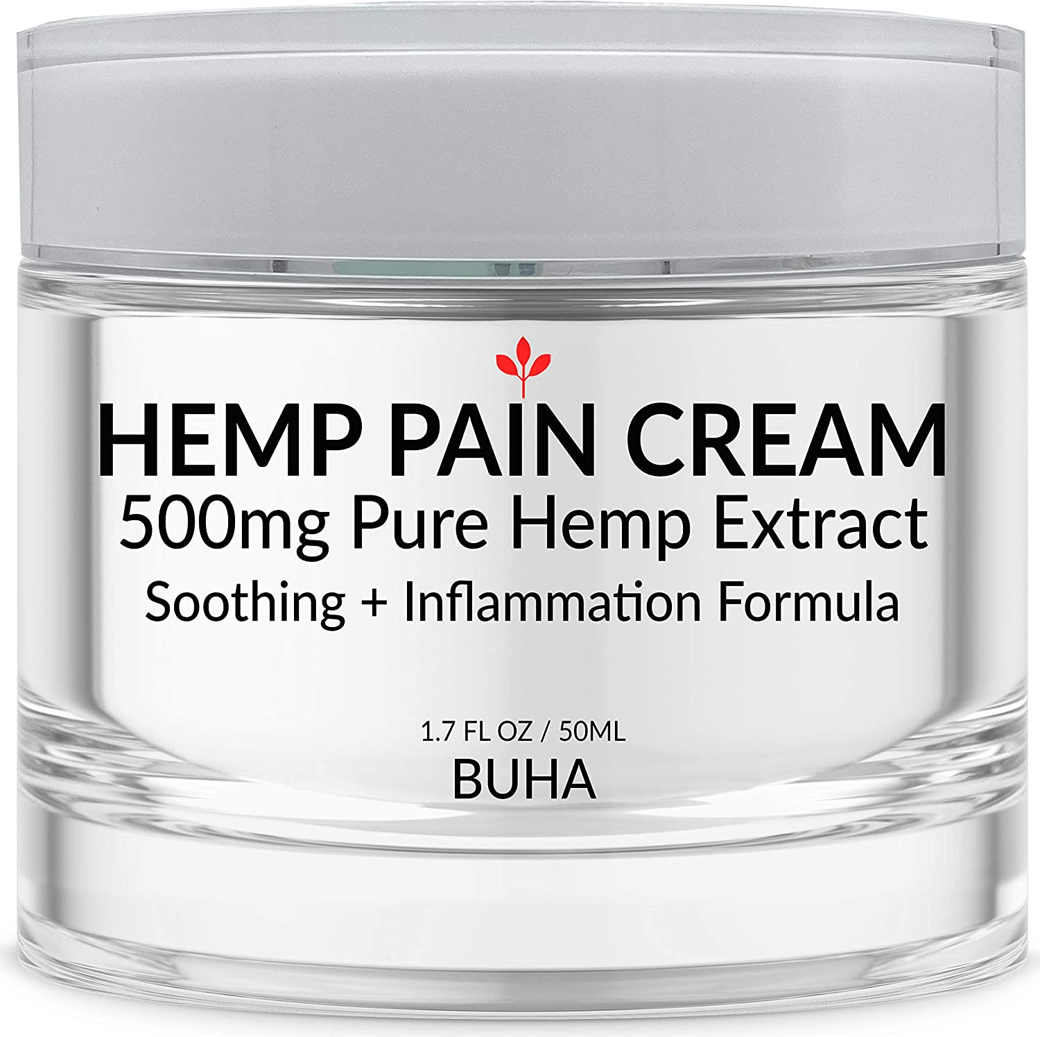 Hemp Cream for Pain Relief - Pure 500mg Extract - Relieves Muscle Pain - Reduces Soreness & Inflammation - Menthol Free - All Natural Arnica + MSM + Caffeine + Tea Tree + EMU - Made in The USA, 50ML.