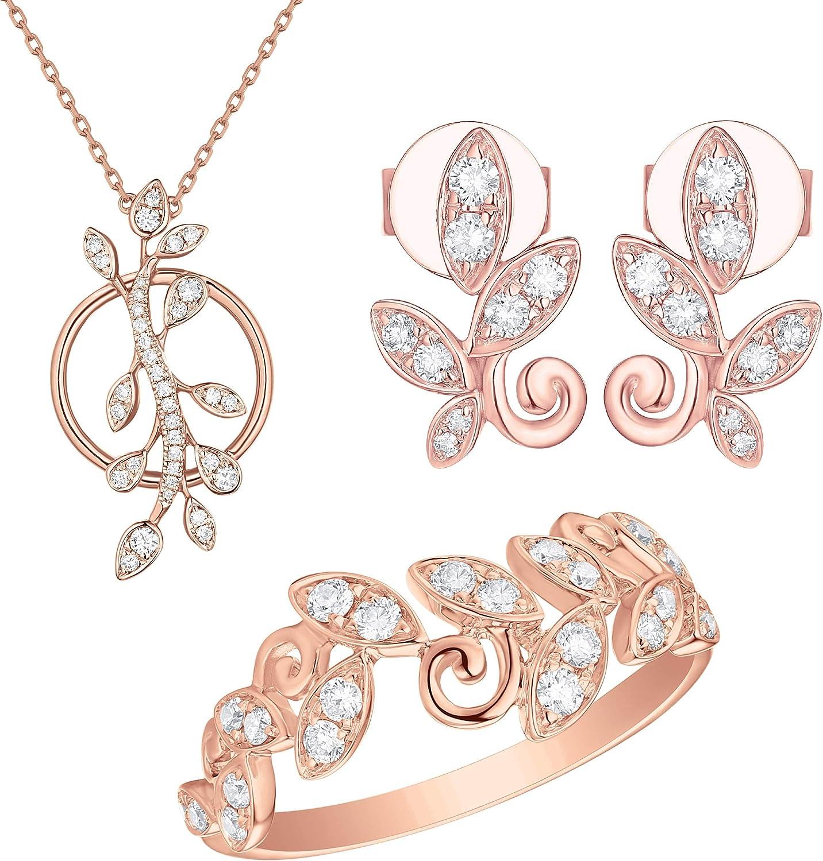 Prism Jewel 0.15Ct G-H//I1 Natural Round Diamond Olive Leaf Style Vine Ring 10k Gold