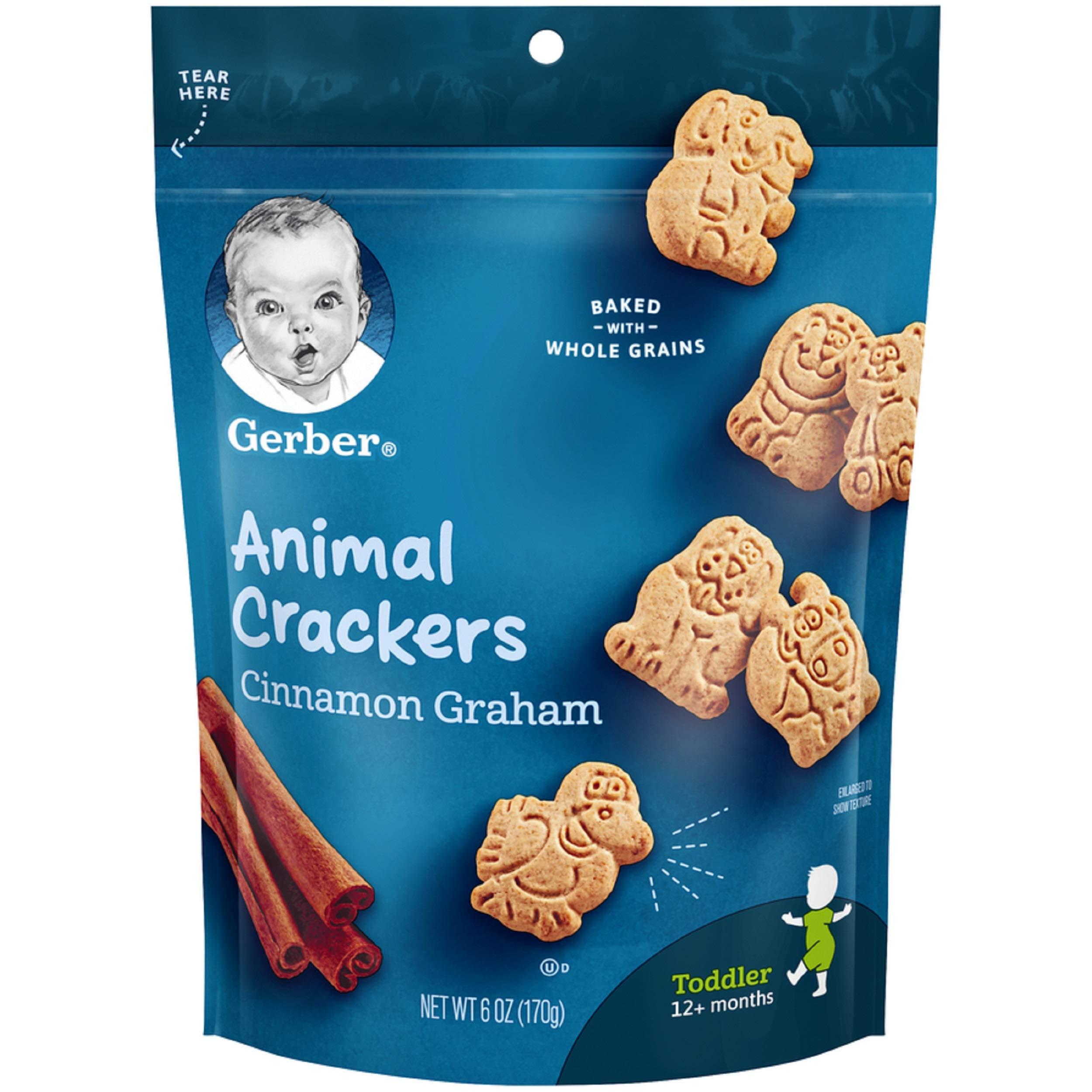 Gerber Graduates Animal Crackers Pouch, Cinnamon Graham, 6 Ounce