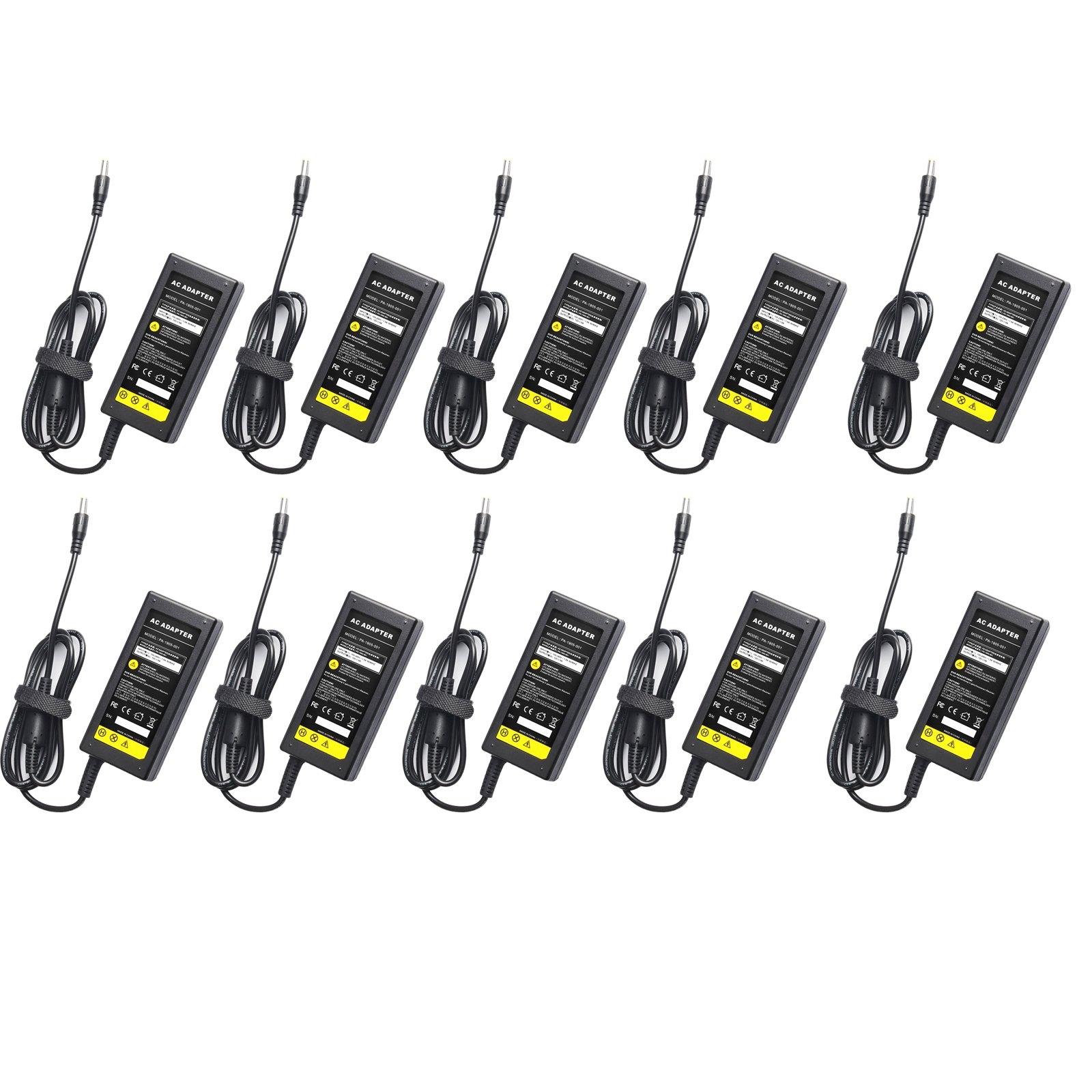 Pack-10 12V 5A Power Supply Adapter with 8 Split Power Cable for Security Camera CCTV DVR Surveillance System