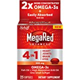 MegaRed Advanced 4 in 1 2x Concentrated Omega Nutritional Supplement, 25 Count