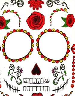 38b2da7f1cefb ROSE SKULL FACE TATTOO TRANSFER KIT - HALLOWEEN DAY OF THE DEAD SKELETON…