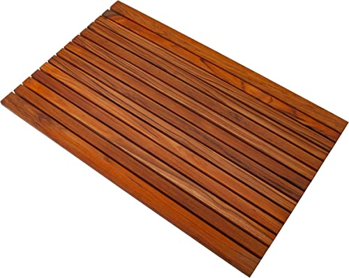Nordic Style Dark Oiled Teak Shower and Bath Mat with Wide End Slat – Indoor and Outdoor Use – Non-Slip Wooden Platform for Sauna, Pool, Hot Tub – 31.4 x 19.6-Inch