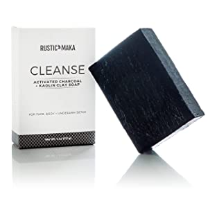 Activated Charcoal + Clay Natural Soap Bar, DETOX + CLEANSE, for Acne, Problem Skin, Excess Oil Control, Face, Body and Underarm Detox, Oily to Normal Skin
