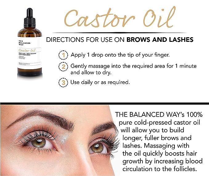 Puro aceite de ricino - prensado en frío, sin hexano - Aceite de ricino fortificante para el crecimiento del cabello, las pestañas y las cejas - Súper ...