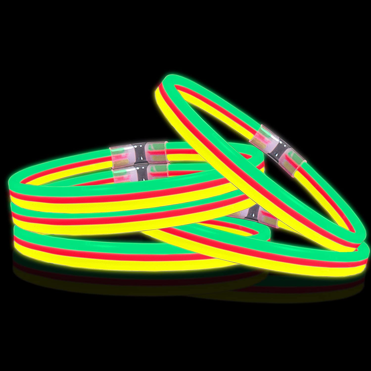 Lumistick Triple Thick Ultra Bright Festival Glow Stick Necklaces | Kid Safe Non Toxic Light Up Glowstick Party Pack | Available in Color Varieties | Lasts up to 12 Hours Green Yellow Red 25