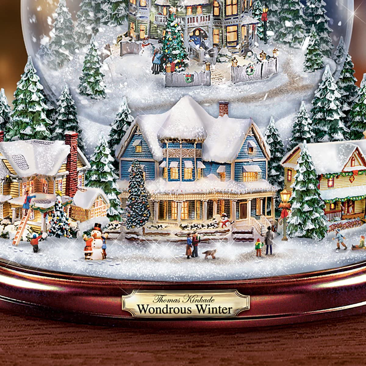 Thomas KinkadeWondrous Winter Musical Tabletop Christmas Tree With Snowglobe by The Bradford Exchange Lights Up