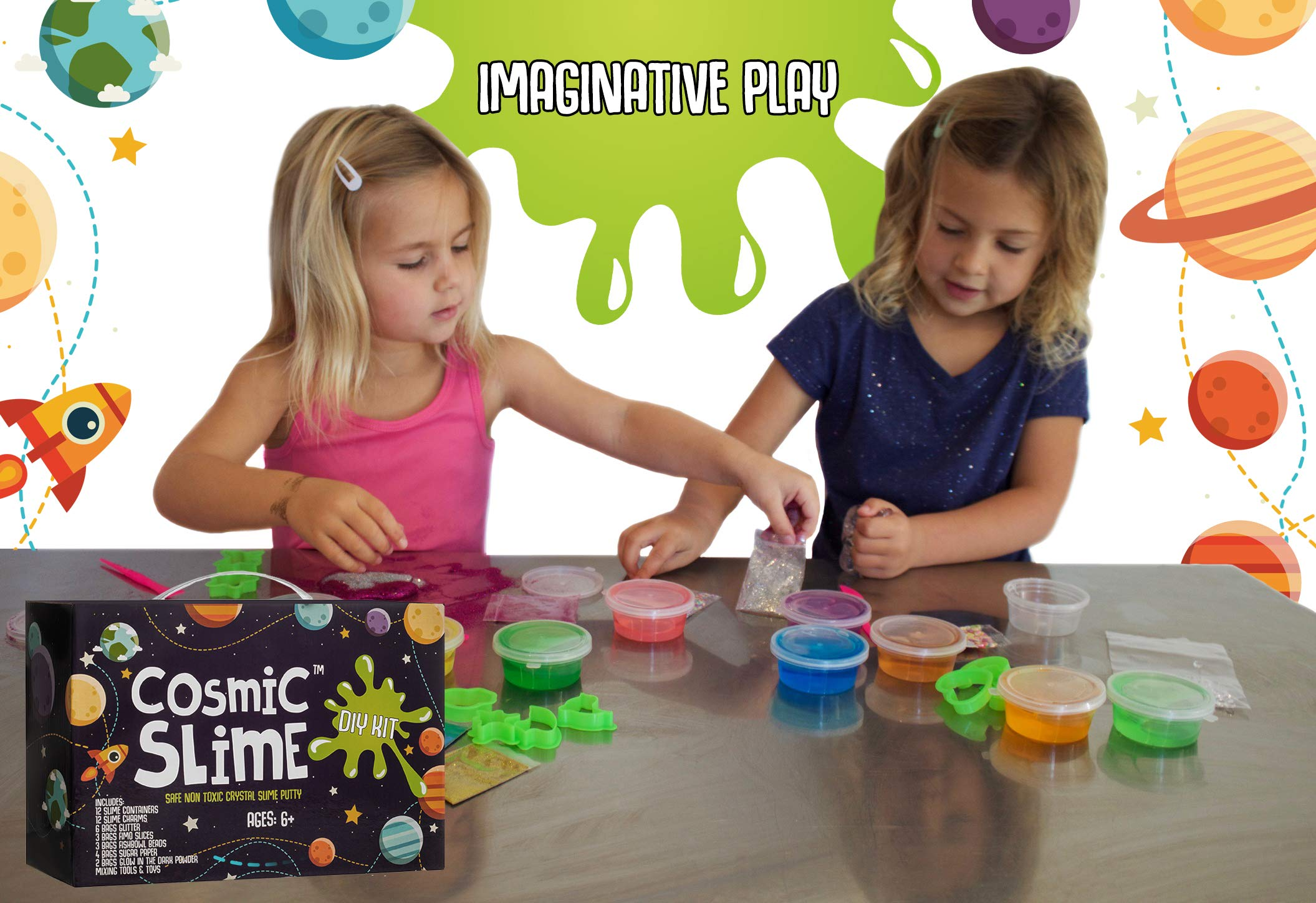 Cosmic Slime Kit - Jumbo 55 Piece Set, Slime Supplies, Make Your Own Slime Kit, Slime Charms, Non-Toxic Clear Putty, Slime Kit for Girls and Boys, Sensory Toy and Slime, Great Gift for Girls and Boys by Stardust & Jupiter (Image #7)