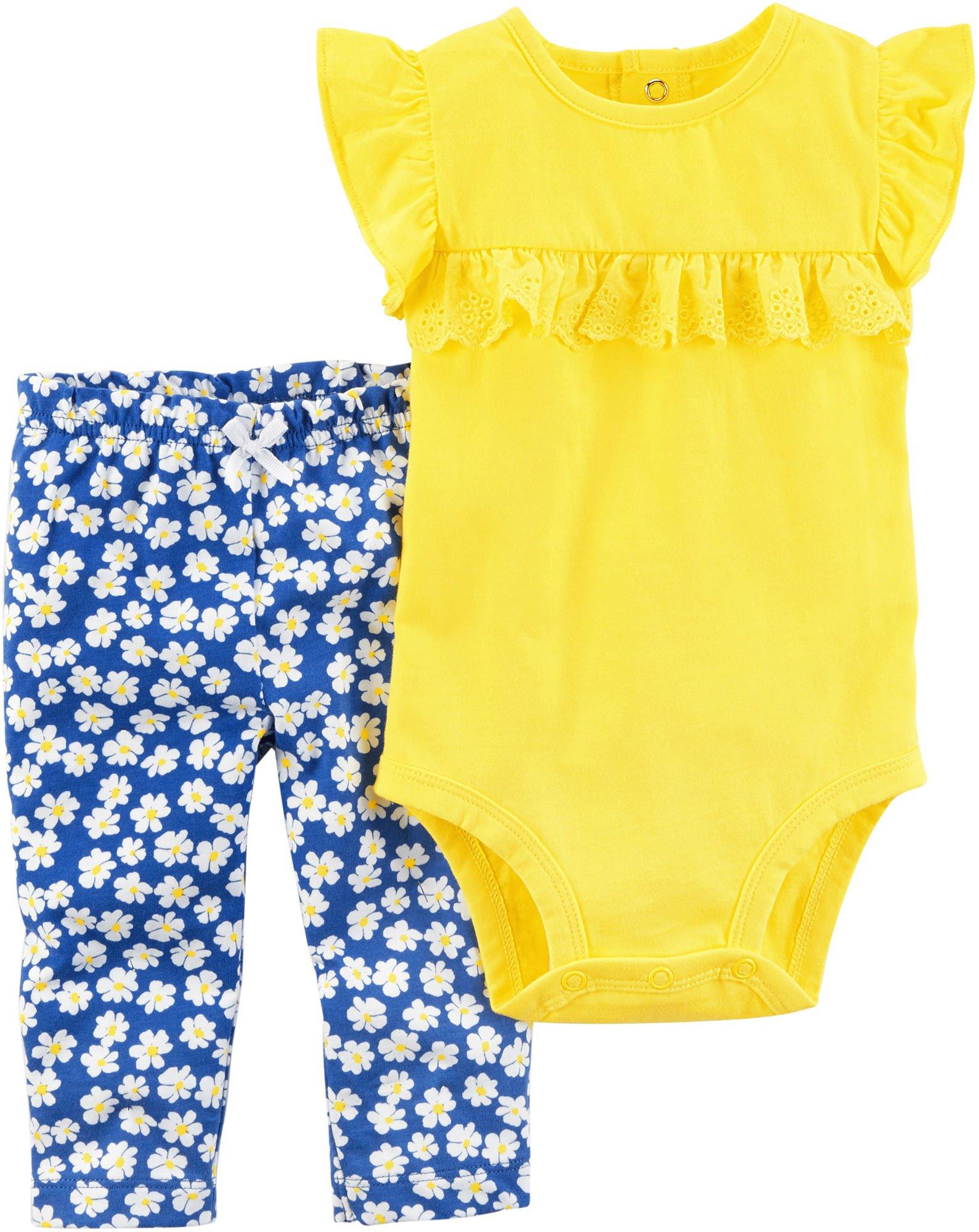 Carter's Baby Girls' 2 Piece Bodysuit Pant Set 9 Months,Yellow