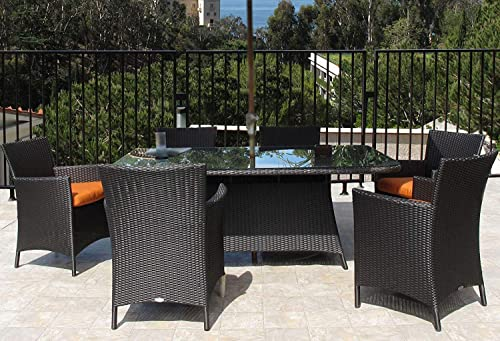 Urban Design Furnishings Hudson Outdoor Resin Wicker 7-PC Rectangle Dining Set Made