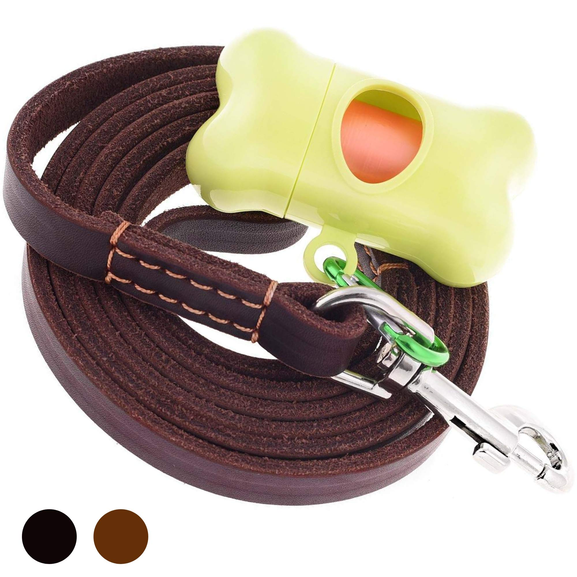 ADITYNA - Leather Dog Leash 6 Foot x 5/8 inch - Strong and Soft Leather Leash for Medium Dogs - Heavy Duty Training Leash (Brown)