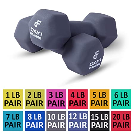 Neoprene Dumbbell Pairs by Day 1 Fitness 12 Sizes of Pairs Available, 1-20 Pounds – Non-Slip, Hexagon Shape, Color Coded, Easy To Read Hand Weights for Muscle Toning, Strength Building, Weight Loss