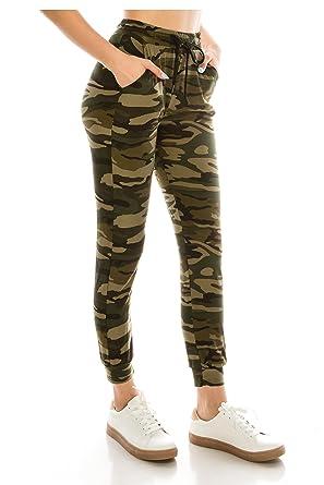 011a1439d ALWAYS Women Drawstrings Jogger Sweatpants - Super Light Skinny Fit Premium  Soft Stretch Camo Military Army