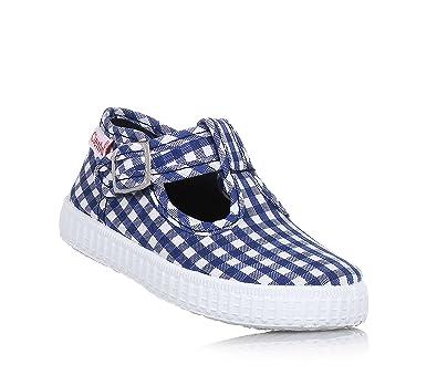 Cienta Blauer und Weißer Schuh Aus Stoff, mit Kariertem Muster, Made in Spain, mit regulierbarem Schnallenverschluss, Jungen-29